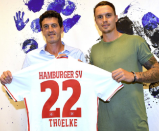 HSV have signed Bjarne Thoelke from Karlsruher SC. The 25 year old central defender passed the obligatory medical examination in Hamburg on Tuesday afternoon before signing a one year deal.