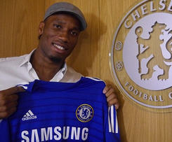 Striker Didier Drogba has re-signed for Chelsea on a one-year deal.