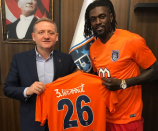 Emmanuel Adebayor signs for Turkish club Istanbul Basakehir after leaving Crystal Palace last summer.