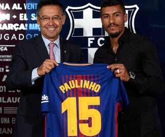 Barcelona have agreed a deal with Guangzhou Evergrande to sign midfielder Paulinho for €40million.