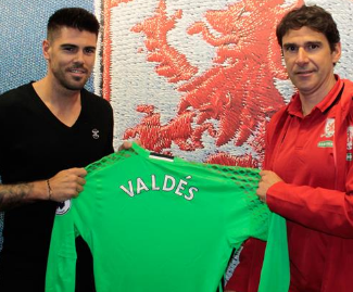 Former Barcelona and Manchester United goalkeeper Victor Valdes has joined newly-promoted Middlesborough.