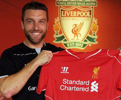 Southampton and England striker Rickie Lambert has moved to Liverpool for a fee of about £4m.