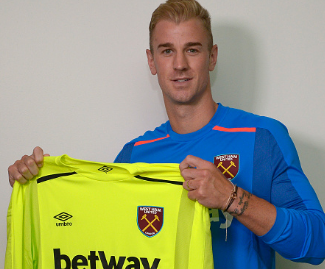 Manchester City and England goalkeeper Joe Hart has completed a season-long loan move to West Ham United.