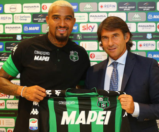 Sassuolo have confirmed the signing of Kevin-Prince Boateng from Eintracht Frankfurt.