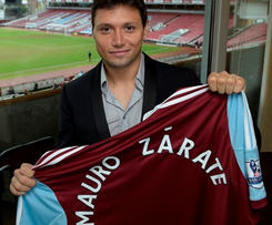 West Ham have signed Argentine forward Mauro Zarate on a three-year contract from Velez Sarsfield.