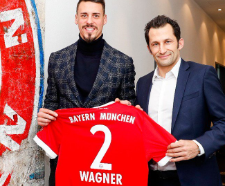 Germany striker Sandro Wagner joins Bayern Munich from Hoffenheim after signing a contract until 2020.