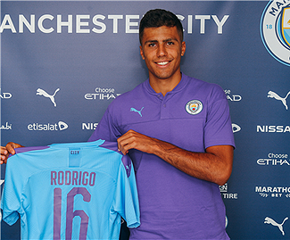 Manchester City sign Rodri from Atletico Madrid on a five-year deal for a club-record fee of £62.5m.