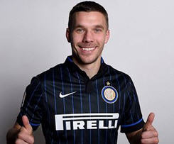 Arsenal forward Lukas Podolski has signed for Inter Milan on loan until the end of the season.