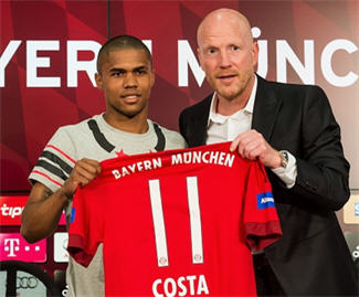 Douglas Costa has joined Bayern Munich from Shakhtar Donetsk for a fee of €30 million.