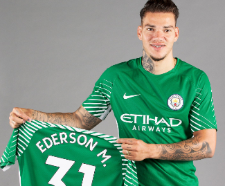 Manchester City confirm signing of Benfica goalkeeper Ederson for £35m.