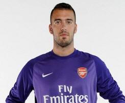 Italy international goalkeeper Emiliano Viviano has joined Arsenal from Serie B side Palermo on a season-long loan.