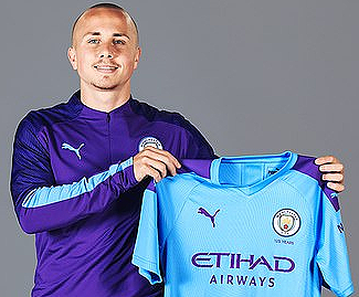 Manchester City have confirmed the re-signing of left-back Angelino from PSV for £5.3million.