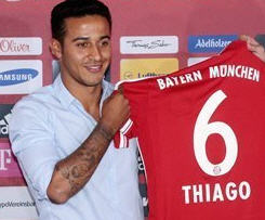 Thiago Alcantara joins Bayern Munich on a four-year deal.