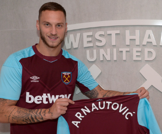 West Ham United have announced the signing of Marko Arnautovic from Stoke City on a five-year deal for a club-record fee of up to £24.5m.
