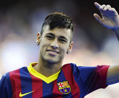 Brazil striker Neymar signs a five-year deal at Barcelona after signing from Santos for a fee of €57m