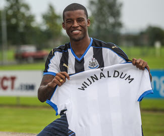 Newcastle United have completed the signing of Georginio Wijnaldum from PSV Eindhoven for a fee of £14.5million.
