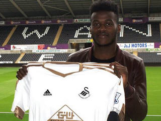 Swansea City have completed the signing of striker Botti Biabi from Falkirk Football Club for an undisclosed fee.