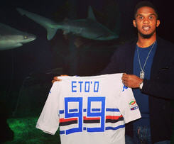 Everton striker Samuel Eto'o has joined Italian Serie A side Sampdoria, signing a deal with the club until 2018.